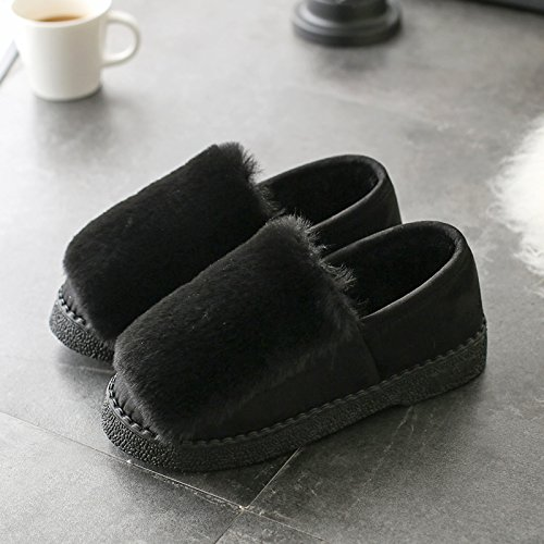 DogHaccd pantofole,Autunno Inverno pantofole di cotone spessa femmina, antiscivolo home soggiorno caldo con eleganti scarpe di cotone colore ortografico fagioli di soia Scarpa Nero3