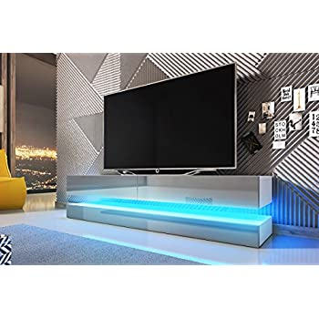 lana meuble tv suspendu table basse tv banc tv de salon 140 cm blanc mat blanc. Black Bedroom Furniture Sets. Home Design Ideas