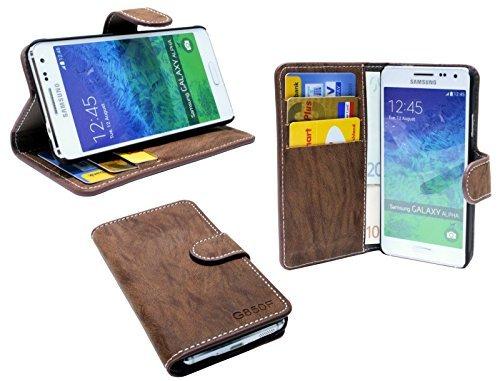 Elegante Buch-Tasche für Samsung Galaxy Alpha G850F in Braun Wallet Book-Style @ Energmix -