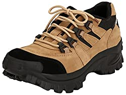 Parlan Mens Brown and Black Synthetic Trekking and Hiking Shoes - 8 UK