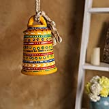 Unravel India Warli Hand painted Teracotta Hanging Bell - Yellow