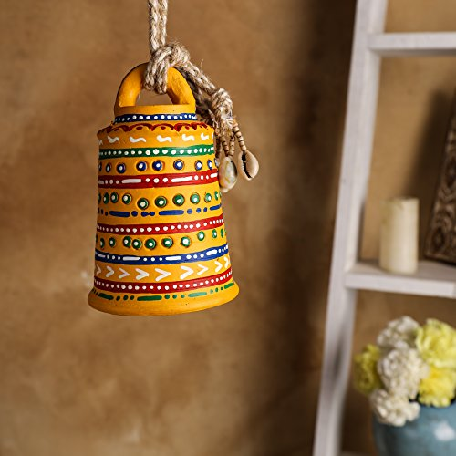 Unravel India Warli Hand painted Teracotta Hanging Bell Yellow
