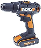 WORX WX170.6 20V Drill/Driver x2 1.5Ah batteries & 60 Piece Accessory Kit with Case