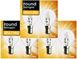 6 x Eco Halogen Golf Ball Light Bulbs 28W (=35W-40W) SBC B15 B15d Classic Mini Globes Clear Round Energy Saver, Small Bayonet Cap, Dimmable Lamps, 350 Lumen, Mains 240V