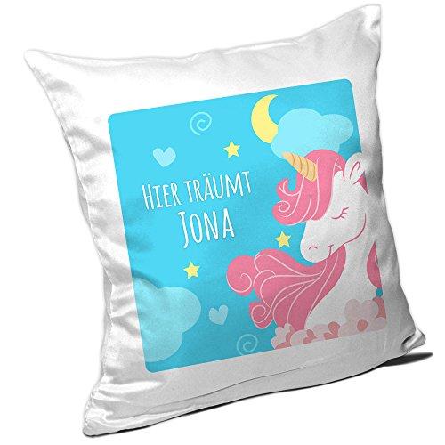 Eurofoto Einhorn-Kissen mit Namen Jona und Text - Hier träumt Jona - für Mädchen | Namenskissen personalisiert | Kuschelkissen | Gute-Nacht-Kissen