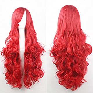 Womens Ladies Girls 80cm Red Color Long Curly Wigs High Quality Hair Carve Cosplay Costume Anime Party Bangs Full Sexy Wigs