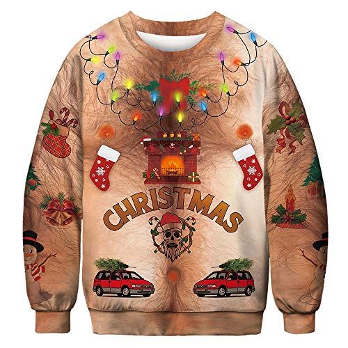 FRAUIT Herren 3D Weihnachten Print Langarm Lose Sweatshirt Unsiex Weihnachten Pullover Sweatshirts Weihnachten Jumper Ugly Christmas Pullover