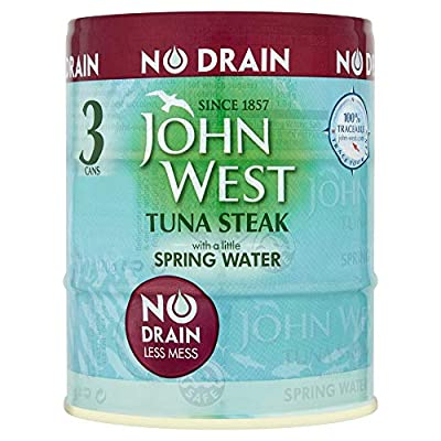 John West No Drain Tuna Steak with a Little Spring Water, 3 x 110 g : everything 5 pounds (or less!)