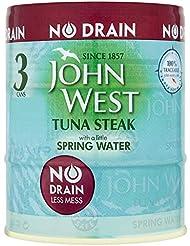 John West No Drain Tuna Steak with a Little Spring Water, 3 x 110 g