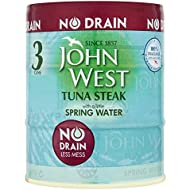 John West No Drain Tuna Steak with a Little Spring Water, 3 x 110 g