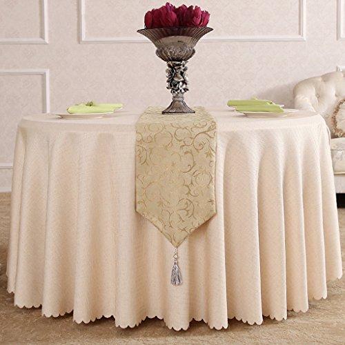 BSNOWF- Nappes European Style Hotel Salle de réunion Nappe à manger Stand d'exposition Banquet Nappe en couleur unite Lin Drap Motif Gris Blanc crémeux Taille facultative ( Couleur : B , taille : Round-360cm )