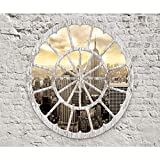 decomonkey Fototapete New York Stadt City 350x256 cm XXL Design Tapete Fototapeten Tapeten Wandtapete moderne Wand Schlafzimmer Wohnzimmer Fenster Ziegel weiß grau FOA0009a73XL