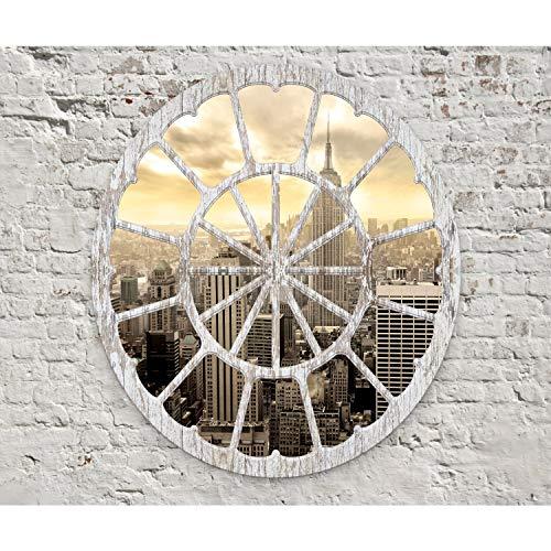 decomonkey Fototapete selbstklebend New York Stadt City 294x210 cm XXL Selbstklebende Tapeten Wand Fototapeten Tapete Wandtapete klebend Klebefolie ration Fenster Ziegel weiß grau - Grau Ziegel Tapete