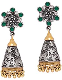 Ecom Capital Oxidised Dual Tone Jewellery Green Color Stud Jhumka Earrings With Stones For Women