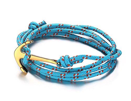 Vnox Acciaio inossidabile delle donne di nylon blu corda intrecciata uomo Maritime Anchor vichingo spostano il braccialetto,oro