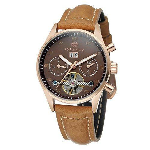 forsining Damen-Armbanduhr Automatische Tag Automatik Kalender Lederband Marke Collection Armbanduhr fsl691m3r1
