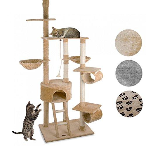Happypet® Kratzbaum für Katzen deckenhoch höhenverstellbar 230-260 cm hoch, großer Kletterbaum Katzenbaum, Säulen mit Sisal 8 cm, Haus, Liegemulde, Treppe, Tunnel, Spielseil, Deckenspanner, BEIGE
