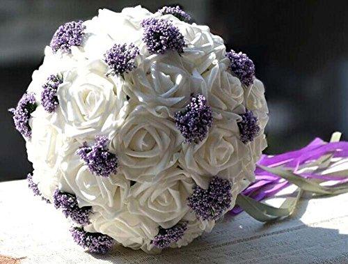 Bouquet de mariée 18 + violet perles mariage décoration mariage cadeau demoiselle d'honneur mariée tenant des fleurs (Color : Blanc)