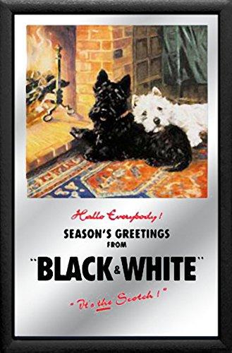 empireposter Black & White - Whiskey - Größe 20x30 bedruckter Spiegel im Kunststoff-Rahmen