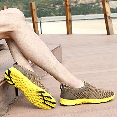 YIRUIYA Herren Aquaschuhe Atmungsaktiv Schwimmschuhe Slip-on Wasserschuhe Khaki+Gelb