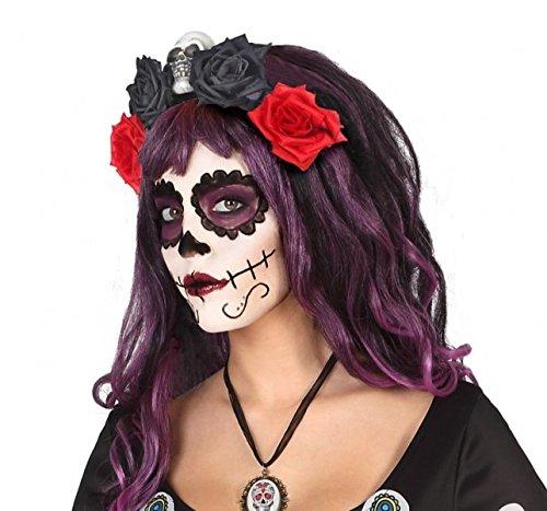 Atosa – Diadema FLores Roja y Negra – AT 39968. – Halloween, Sombreros, Gorros, Cascos y Diademas