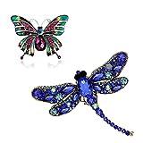 Pomlink Broschen, Strass Brosche Libelle und Emaille groß Schmetterling Corsage Pin, 2er Pack