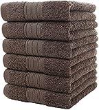 Toallas de mano grandes de algodón (gris, paquete de 6, 40 x 72 cm) - Uso multipropósito para baño, manos, cara, gimnasio y spa por GraceAier Towels
