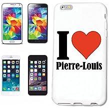 """cubierta del teléfono inteligente Samsung Galaxy S6 """"I Love Pierre-Louis"""" Cubierta elegante de la cubierta del caso de Shell duro de protección para el teléfono celular Samsung Galaxy S6 … en blanco ... delgado y hermoso, ese es nuestro hardcase. El caso se fija con un clic en su teléfono inteligente"""