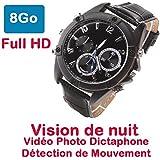 Montre Caméra Cachée Espion 8Go Full HD 1920x1080 détecteur de mouvement Dictaphone-Vision Nocturne Black CEL-DW-89CM-VR8