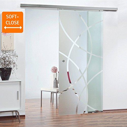 Glas-Schiebetür Schiebetür Zimmertür 755 x 2035 mm Innentür Komplettset mit Laufschiene & Glastür (Kreisförmig satiniert) Griffknopf + Softclose…