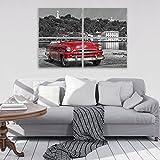 FORWALL AMF11859_GTS10 - Immagine da Parete in Vetro con Immagine di Vecchia Auto, con Immagine di Cuba Havanna Casablanca, Vetro, Rosso, Nero e Bianco, GS10 (120cm. x 80 (4x60x40))