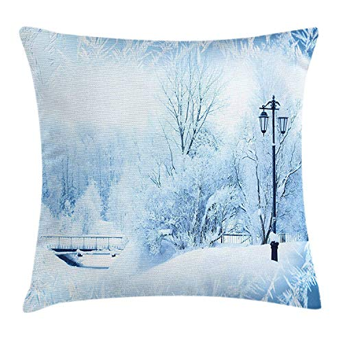 Winter Throw Pillow Cushion Cover, Winter Trees in Wonderland Theme Christmas New Year Scenery Freezing ICY Weather, Decorative Square Accent Pillow Case, 18 X 18 inches,