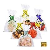 DazSpirit Paquet de 100 Sacs de Friandises En Cellophane Transparents Avec Rubans - 18x25 cm Sachet Bonbons pour Bonbons, Cadeaux, Petits Gâteaux Et Jouets