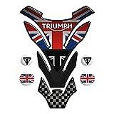 ADESIVI PARASERBATOIO TANKPAD RESINATO EFFETTO 3D - ADESIVI-STICKER 3D compatible ,, Triumph U.K. flag Union Jack mod. DETROIT Top + 4 GRATIS 13x18cm ,,