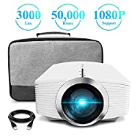 Projector, ELEPHAS (2nd Gen) Upgraded 2400 Lumens LCD Video Projector with Carry Bag Support 1080P Portable Mini Multimedia Movie Projector Ideal for Home Theatre Entertainment Games Parties, White