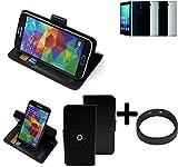 K-S-Trade® Hülle Schutzhülle Case Für -Haier Voyage V5- + Bumper Handyhülle Flipcase Smartphone Cover Handy Schutz Tasche Walletcase Schwarz (1x)