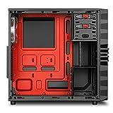 Sharkoon VG4-W - Caja de ordenador (Midi-Tower, PC, ATX, Micro-ATX, Mini-ITX, 1x 120 mm, 12 cm, 1x 120 mm), negro y rojo