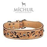 MICHUR Jose Hundehalsband, Lederhalsband, Halsband, Beige, LEDER, mit schwarzen Farben und Steinchen, in verschiedenen Größen erhältlich