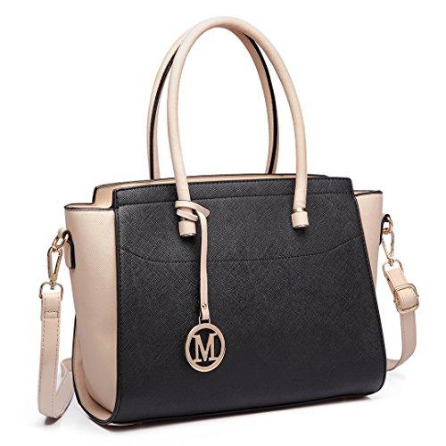 Miss Lulu Damen Klassische Handtasche Winged Schultertasche Groß Umhängetasche Taschen (6627 Schwarz und Beige) (Beige Handtasche Damen)