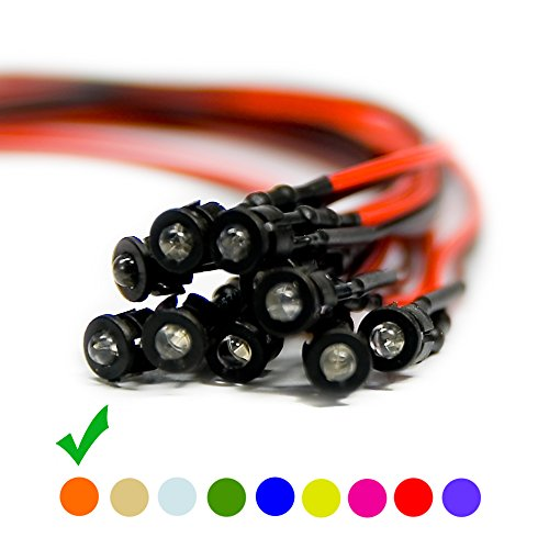 10 x Verkabelte Dioden LED + Plastik Halterung Wired Orange Klare Linse 24V 3mm - 24v Diode