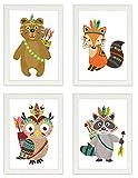Kinder Poster 4er-Set INDIANER, gerahmt DIN A4, Dekoration fürs Kinderzimmer, Babyzimmer, Kinderposter, Babyposter, Poster mit Rahmen, Wandbild, Kunstdruck, Geschenk (Mit IKEA FISKBO weiss)
