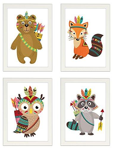 """Kinder Poster 4er-Set """"INDIANER"""", gerahmt DIN A4, Dekoration fürs Kinderzimmer, Babyzimmer, Kinderposter, Babyposter, Poster mit Rahmen, Wandbild, Kunstdruck, Geschenk (Mit IKEA FISKBO weiss)"""