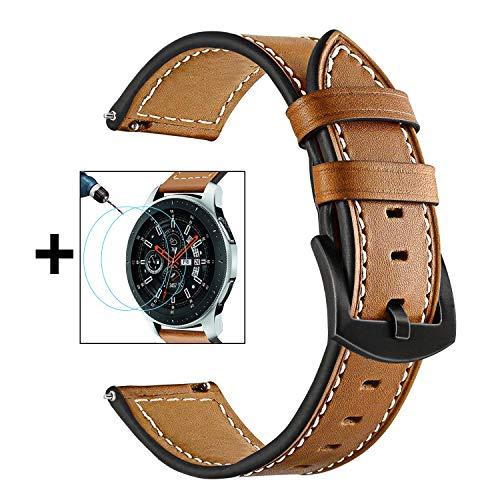 TRUMiRR para Galaxy Watch 46mm Band + Paquete de 2 Protector de Pantalla, 22mm Correa de Reloj de Cuero Genuino Suave Correa para Samsung Galaxy Watch 46mm, Gear S3 Classic/Frontier