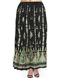 Fabcolors Casual Wear Full Length Rayon Flared Long Skirt With Sequence Embroidery Work ( Black) - B076PBHQ2K