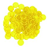 Bingo-Chips, magnetisch, Metallkante - 1,9 cm - erhältlich in 7 Farben in Einer wiederverwendbaren Tasche, 100 Stück, Unisex, Transparent, Gelb