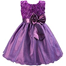Katara - Vestido de noche para Niña con flores y con arco, color Púrpura, talla 146/152 (tamaño fabricante 160)