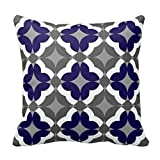 AlineAline Abstract Floral Clover Pattern In Cobalt and Grey Pillow Case