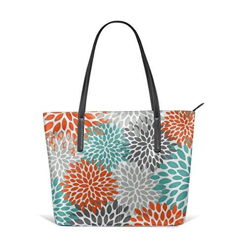 Mode Handtaschen Einkaufstasche Top Griff Umhängetaschen Floral pattern abstract orange teal and gray Leather Tote Large Purse Shoulder Bag Portable Storage HandBags Convenient Shoppers Tote -