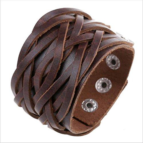 Heißer Verkauf Rindsleder Armband Männer Für Frauen Mode Leder Schmuck Brown (Earing Für Schmuck-box Frauen)