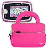 LeapPad 3 Tablet Bag, Evecase LeapFrog LeapPad 3 Kids Learning Tablet Neoprene Sleeve Case Slim Briefcase w/ Handle & Accessory Pocket / Ultra Portable Travel Carrying Case Sleeve Portfolio Pouch Cover - Hot Pink
